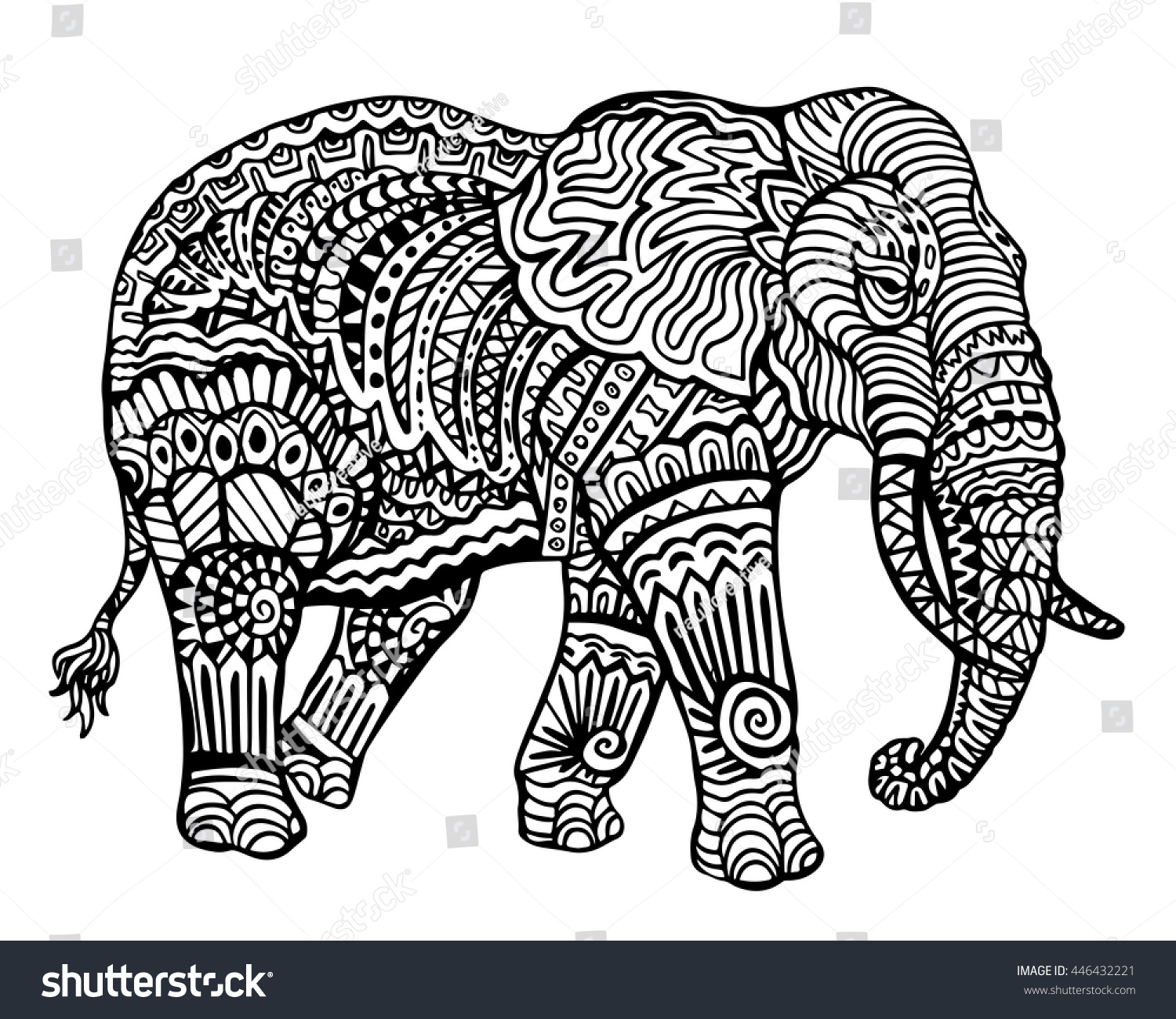 Ethnic Animal Doodle Detail Pattern Elephant Stock Vector (Royalty ...