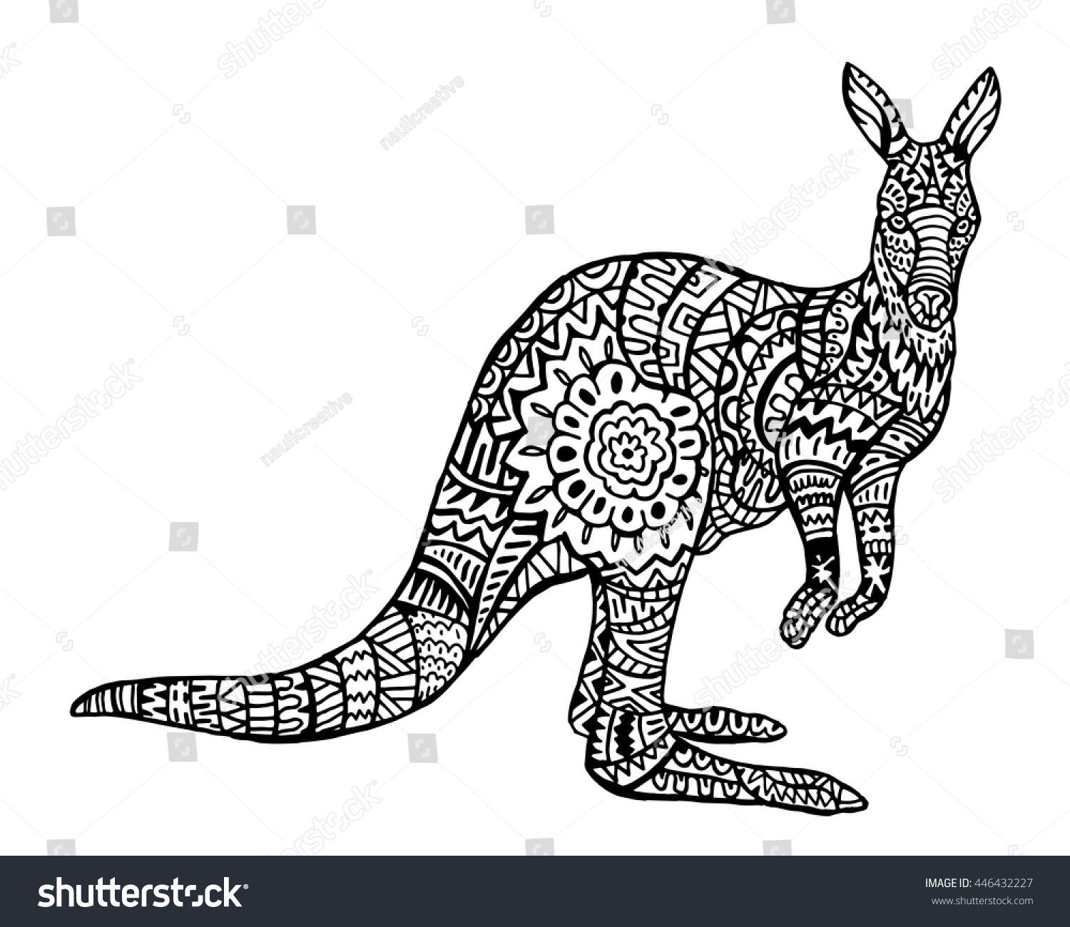 Stock vector ethnic animal doodle detail pattern killer whale - Ethnic Animal Doodle Detail Pattern Kangaroo Zentangle Illustration
