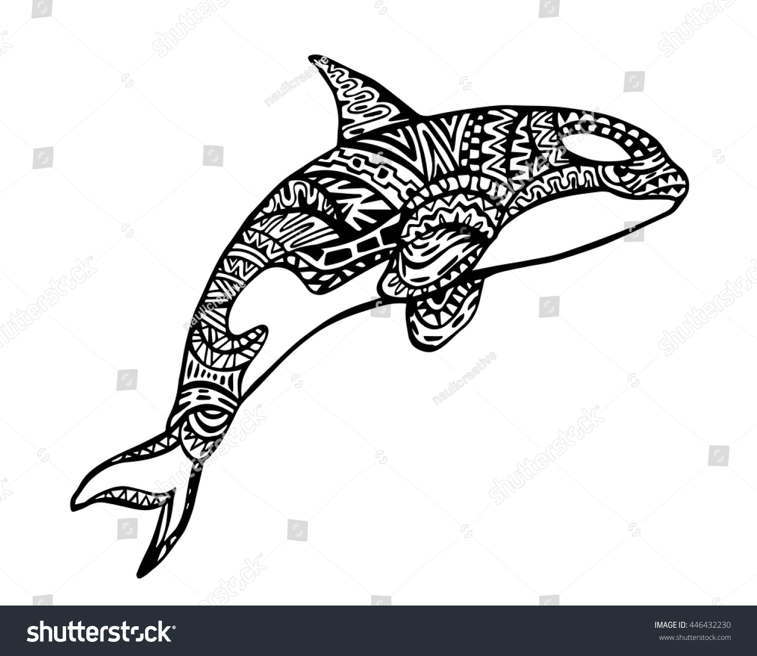 Stock vector ethnic animal doodle detail pattern killer whale - Ethnic Animal Doodle Detail Pattern Killer Whale Zentangle Illustration