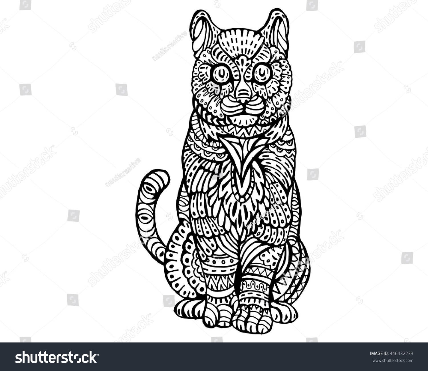 Stock vector ethnic animal doodle detail pattern killer whale - Ethnic Animal Doodle Detail Pattern Cute Cat Zentangle Illustration