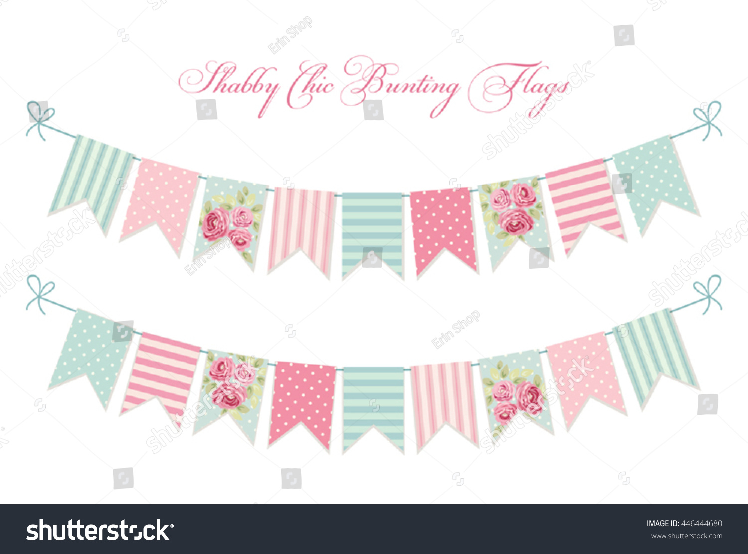 Vector bunting flags lovely celebration card with colorful paper - Cute Vintage Shabby Chic Textile Bunting Flags Ideal For Wedding Birthday Bridal Shower