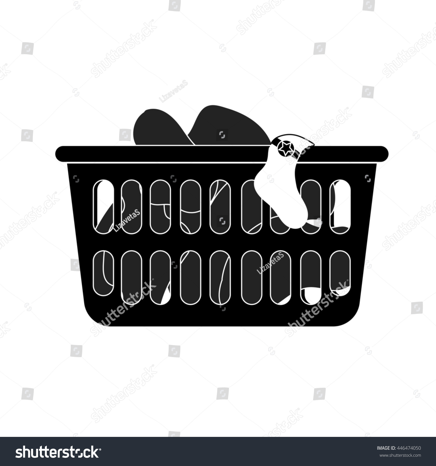 modern style icon of laundry basket with dirty clothes