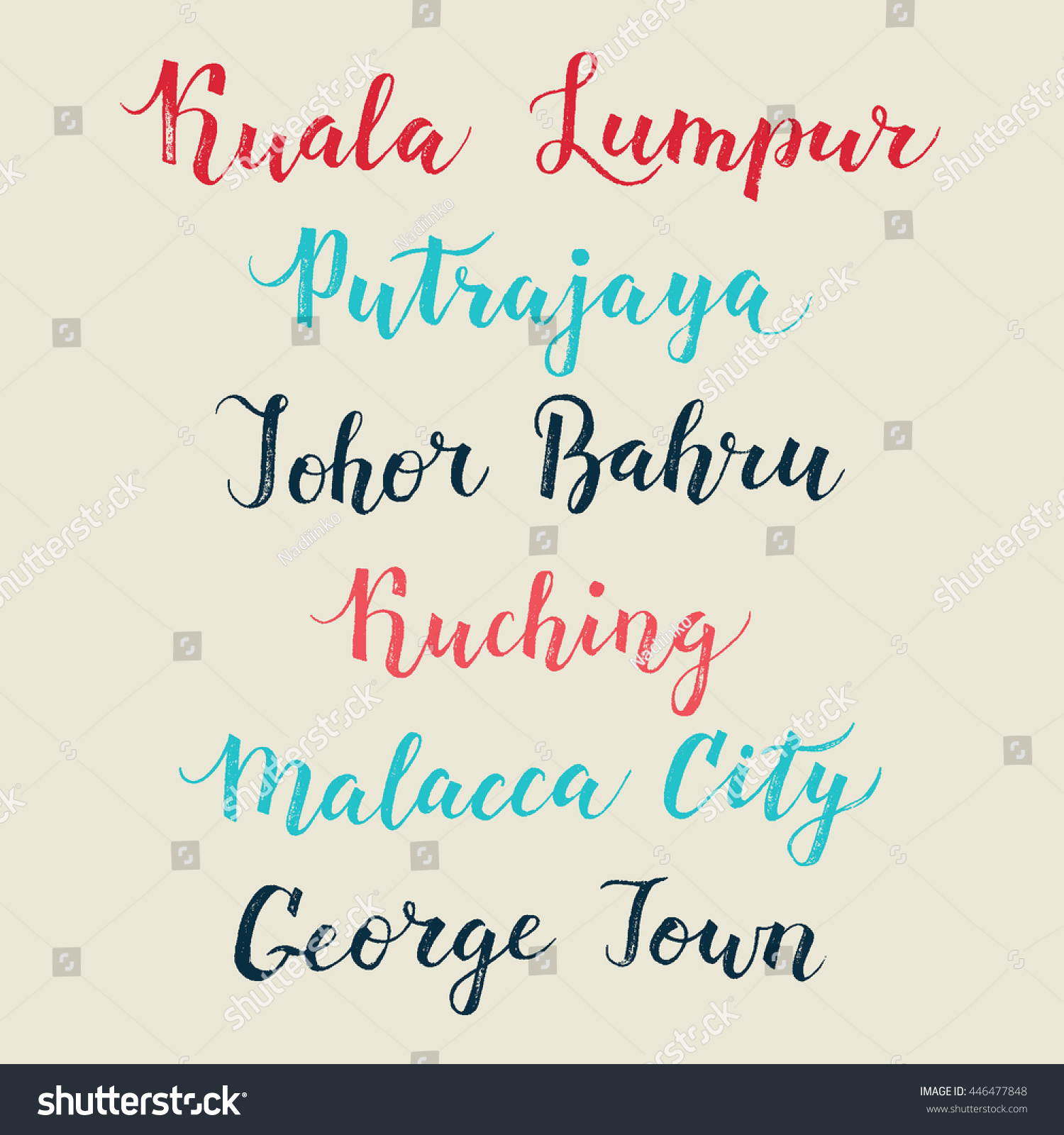 Malaysia city hand drawn vector lettering stock