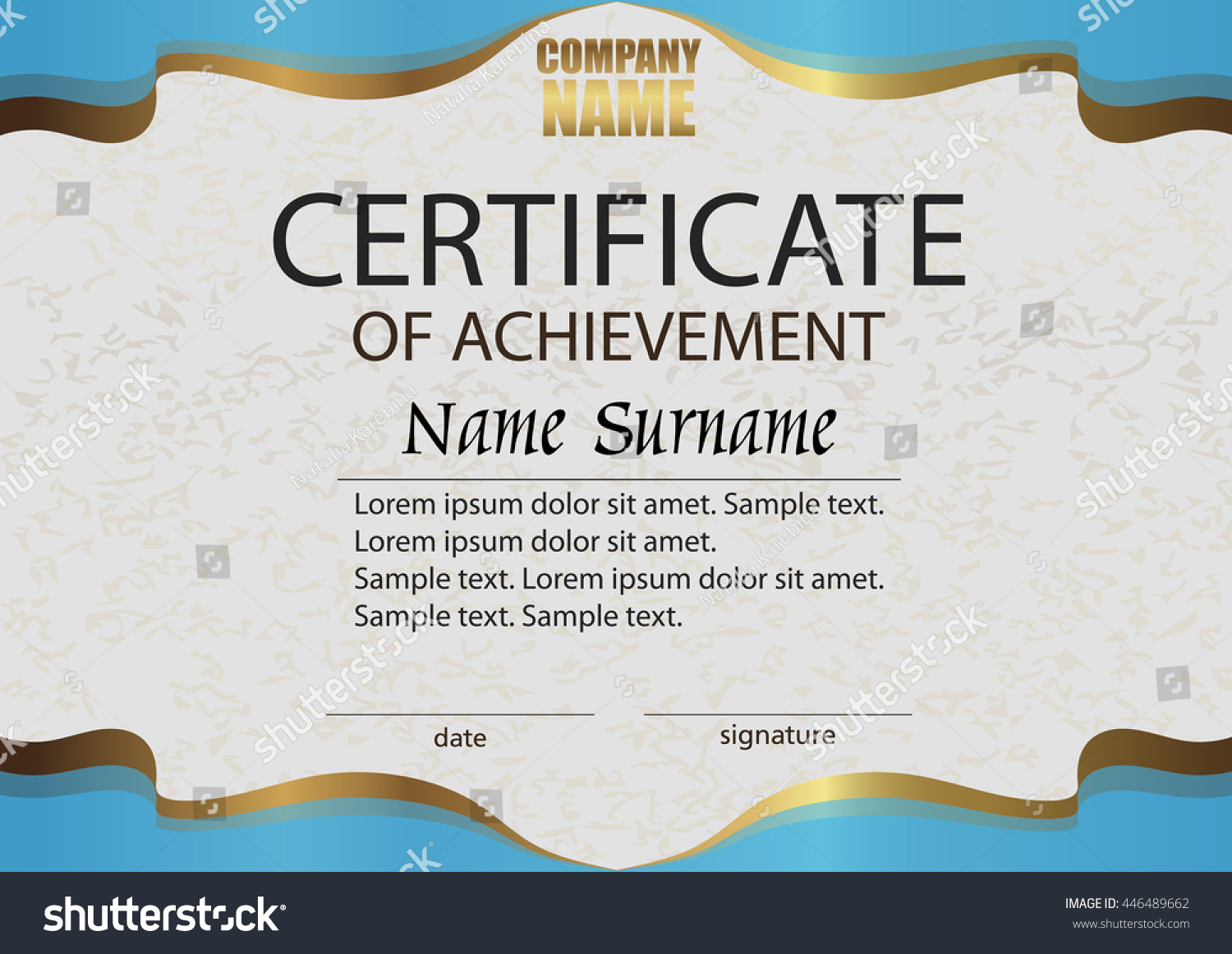 Certificate Of Achievement. Reward. Winning The Competition. Award Winner.  Horizontal Blue With  Certificate Winner