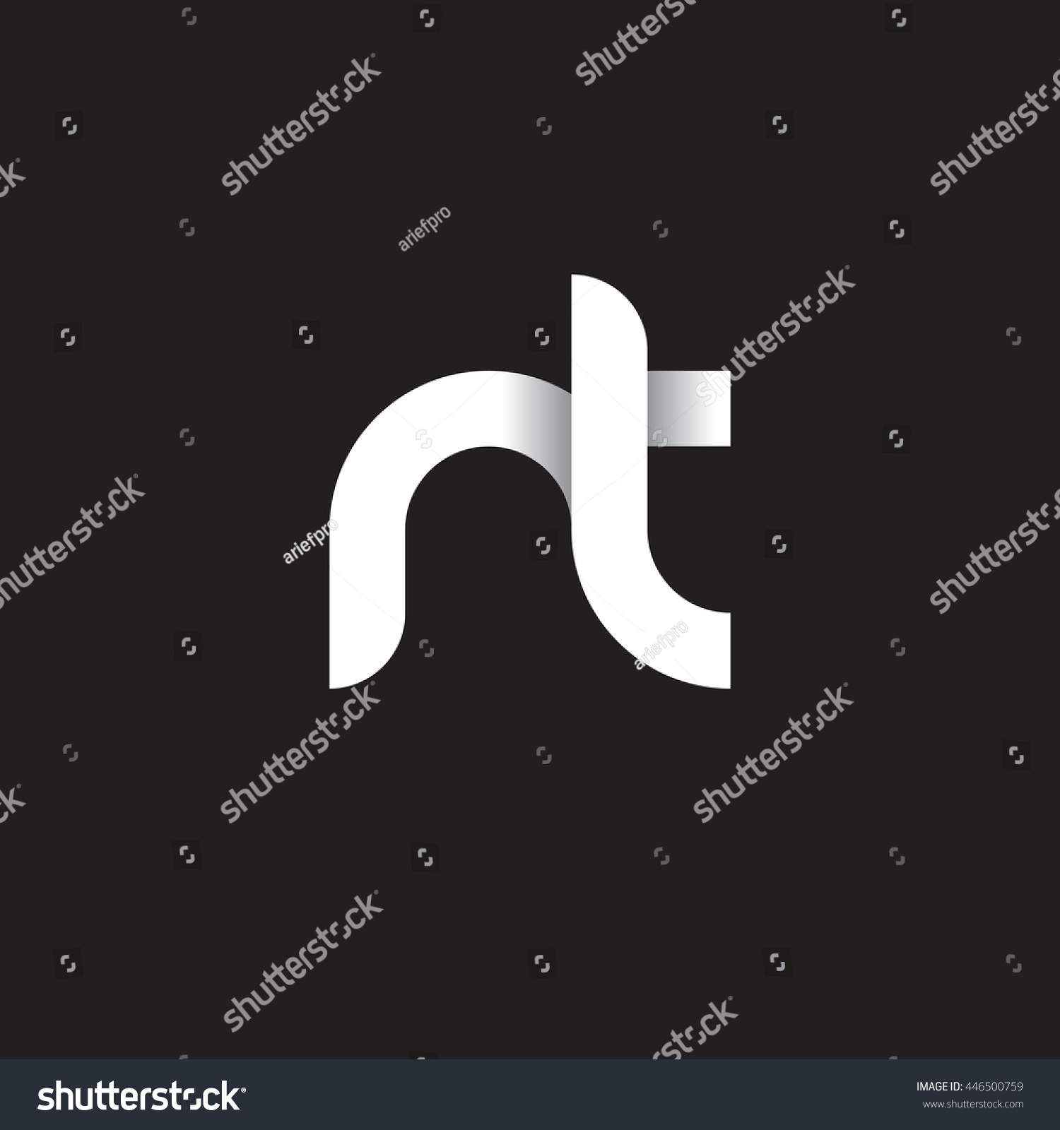 Initial Letter Nt Modern Linked Circle Stock Vector Royalty Free