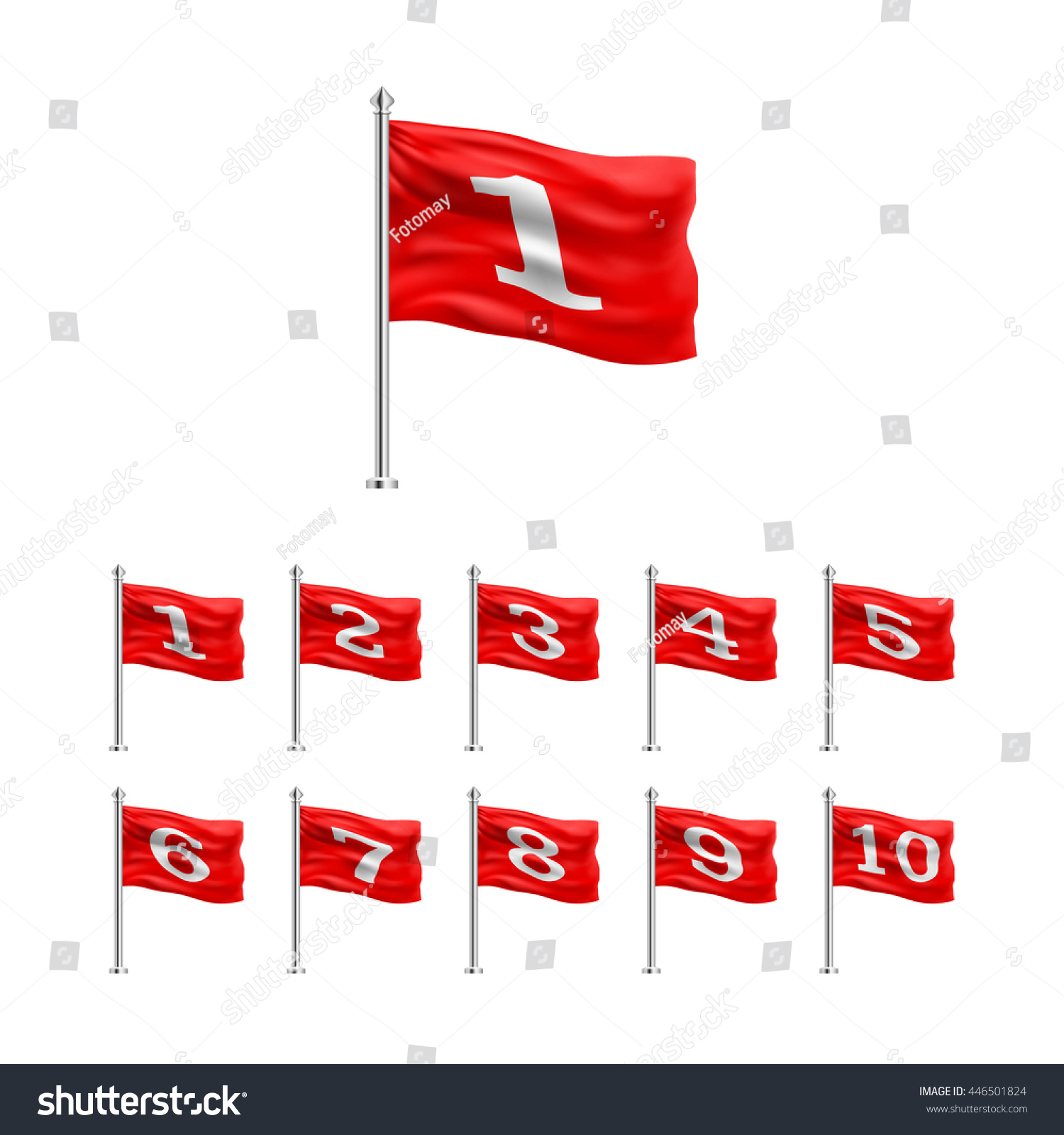 set red flags numbers 1 10 stock vector 446501824 shutterstock