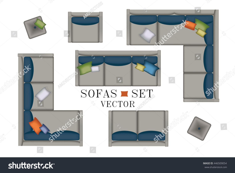 Sofa Top View Sofas Armchair Set Stock Vector 446509054