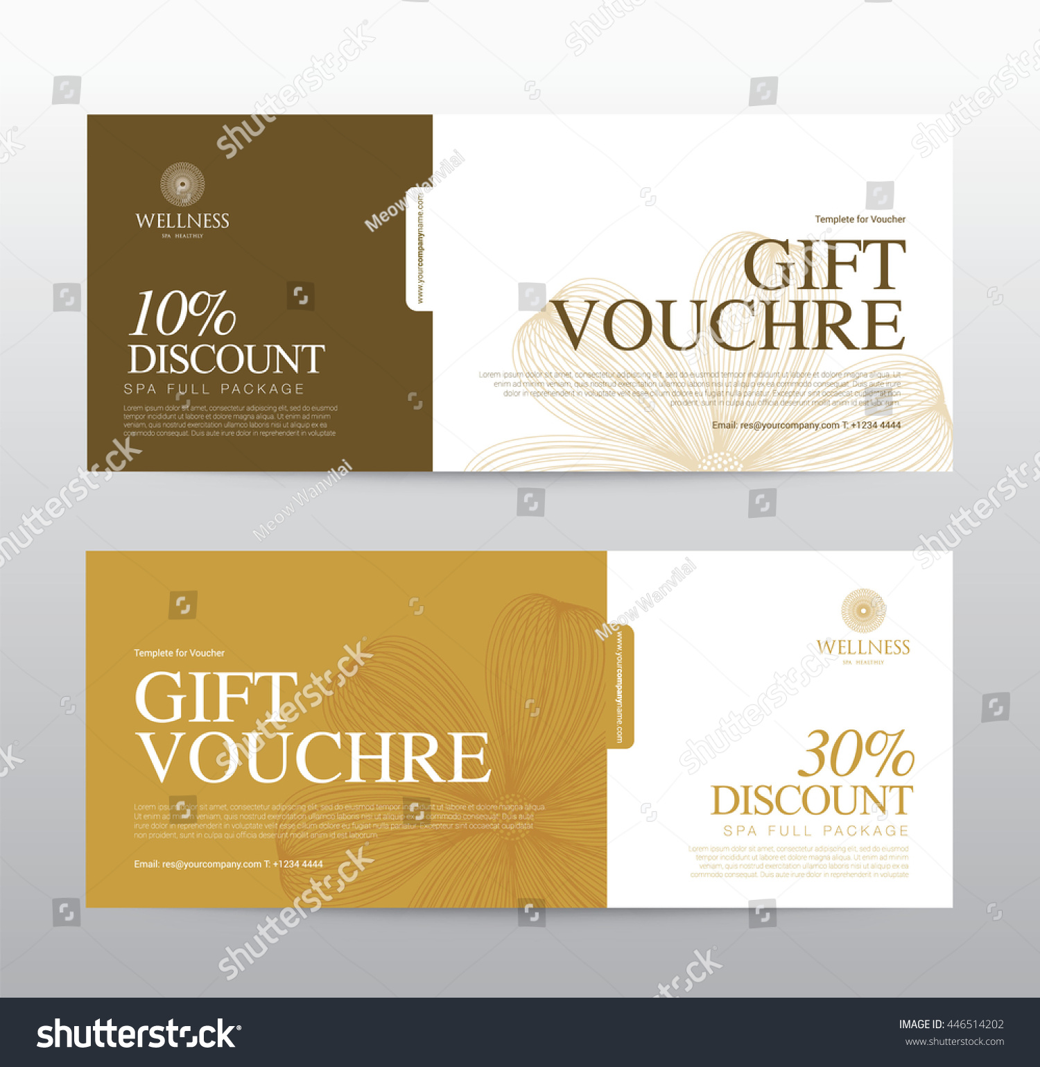 gift voucher template spa hotel resort のベクター画像素材