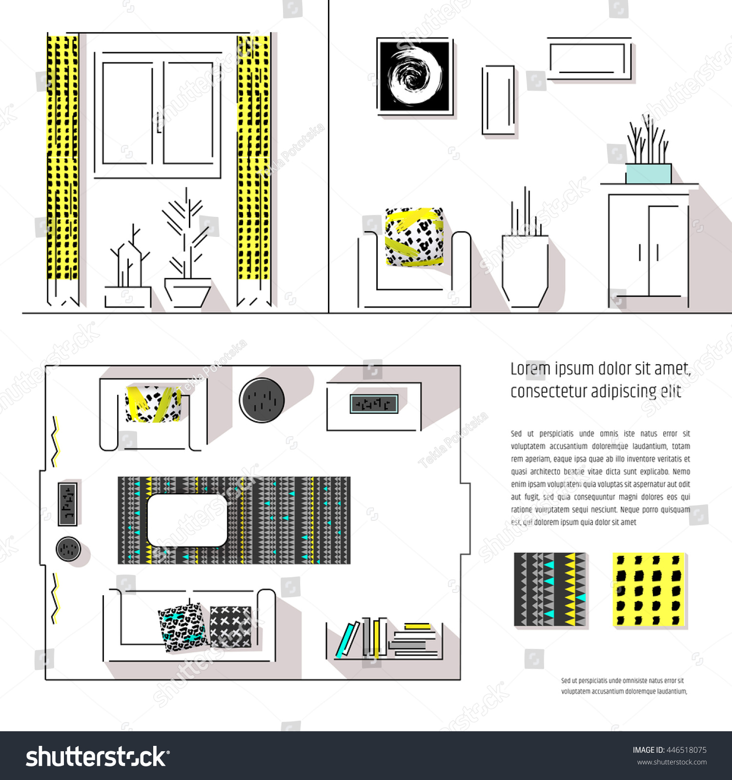 Interior Design Magazine Page Layout Web Stock Vector