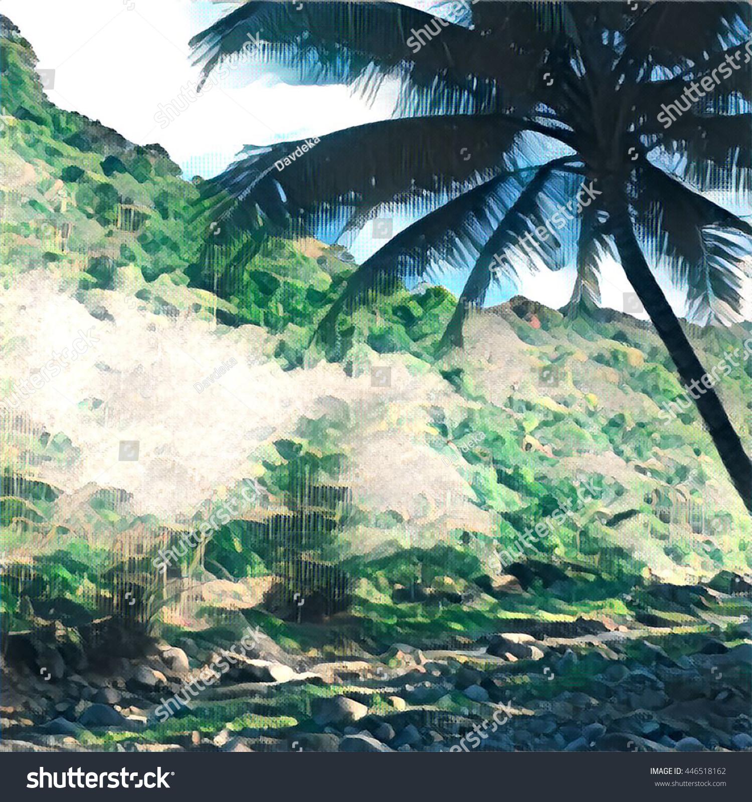 Digital Illustration Silhouette Coconut Palm Tree Stock Illustration ...