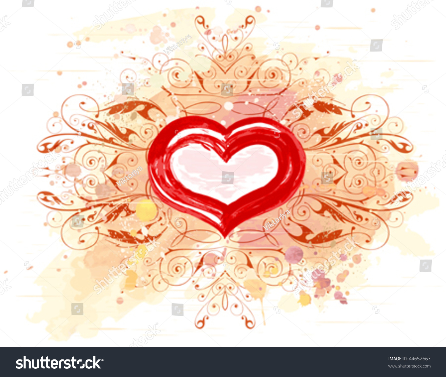 Vector heart calligraphy flowers ornament on watercolor