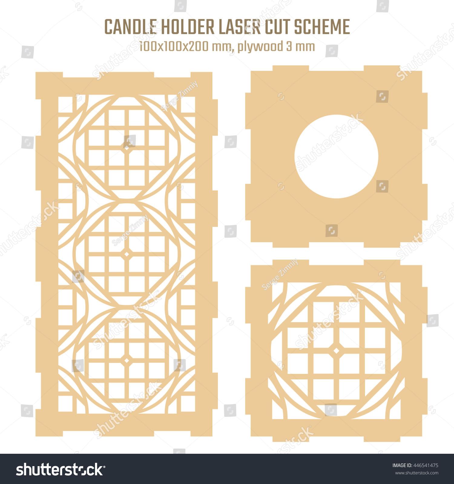 diy laser cutting vector scheme candle stock vector. Black Bedroom Furniture Sets. Home Design Ideas