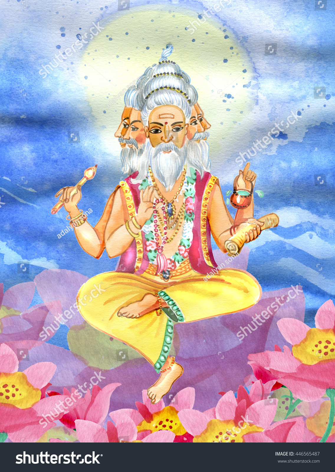 Beautiful brahma sitting on lotus flower stock illustration beautiful brahma sitting on the lotus flower on a background of nature dhlflorist Gallery