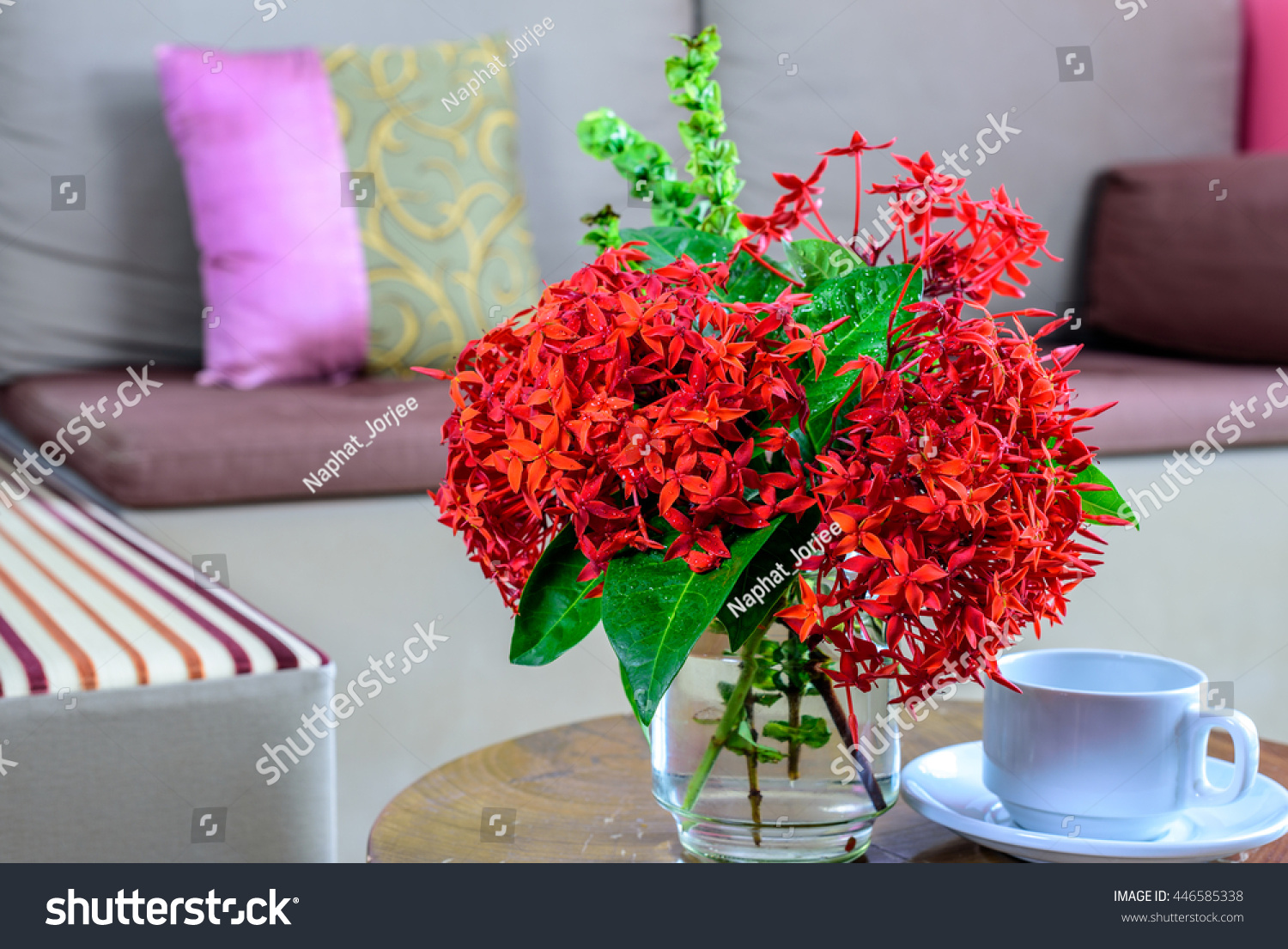 Colorful Flower Vase Coffee Cup On Stock Photo (Royalty Free ...