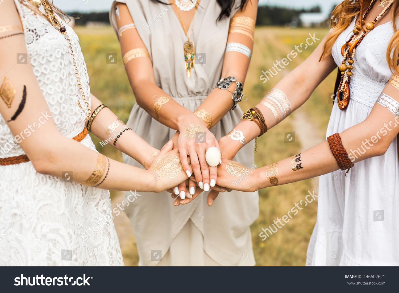 Closeup Female Hands Three Girls Best Stock Photo 446602621 ...
