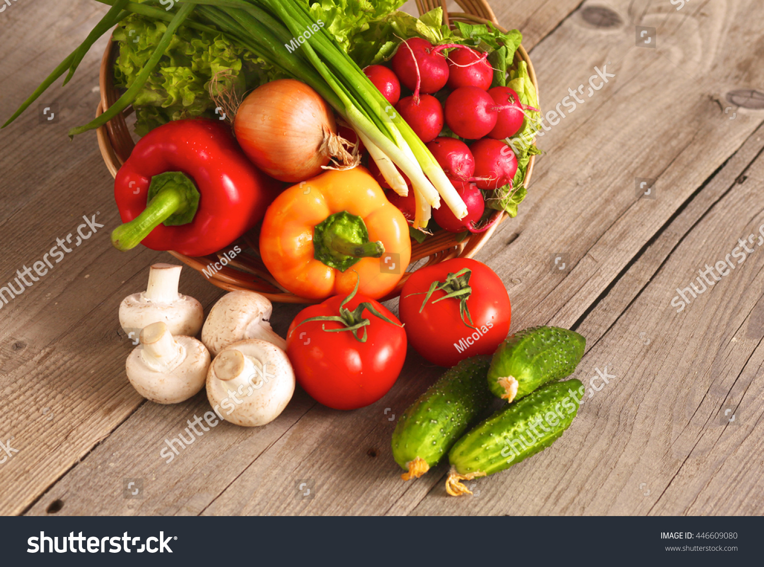 Fresh Vegetables On A Clean Wooden Table Stock Photo 446609080