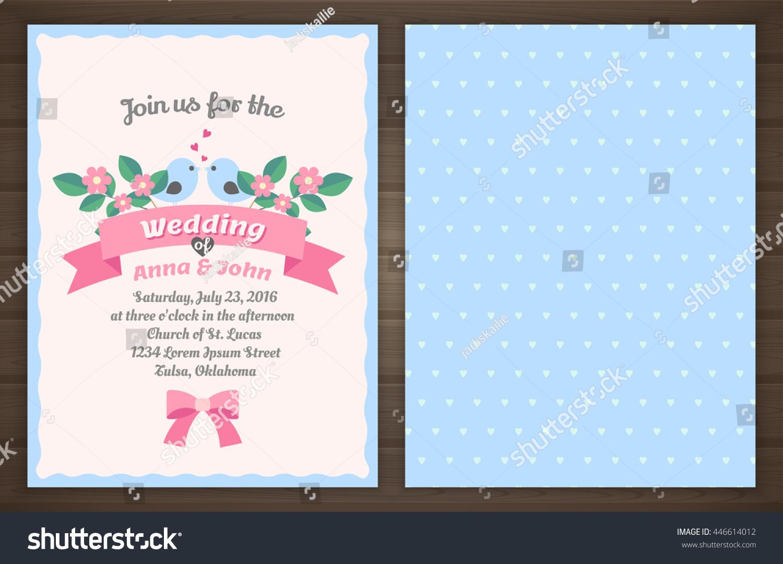 Wedding Invitation Card Back Front Vector Stock Vector 446614012