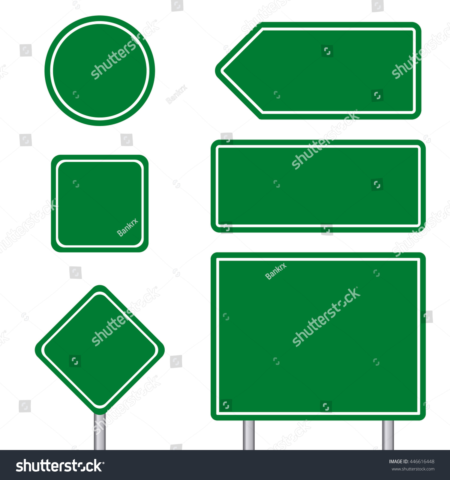Blank Green Multiple Size Transportation Sign Stock Vector 446616448 ...