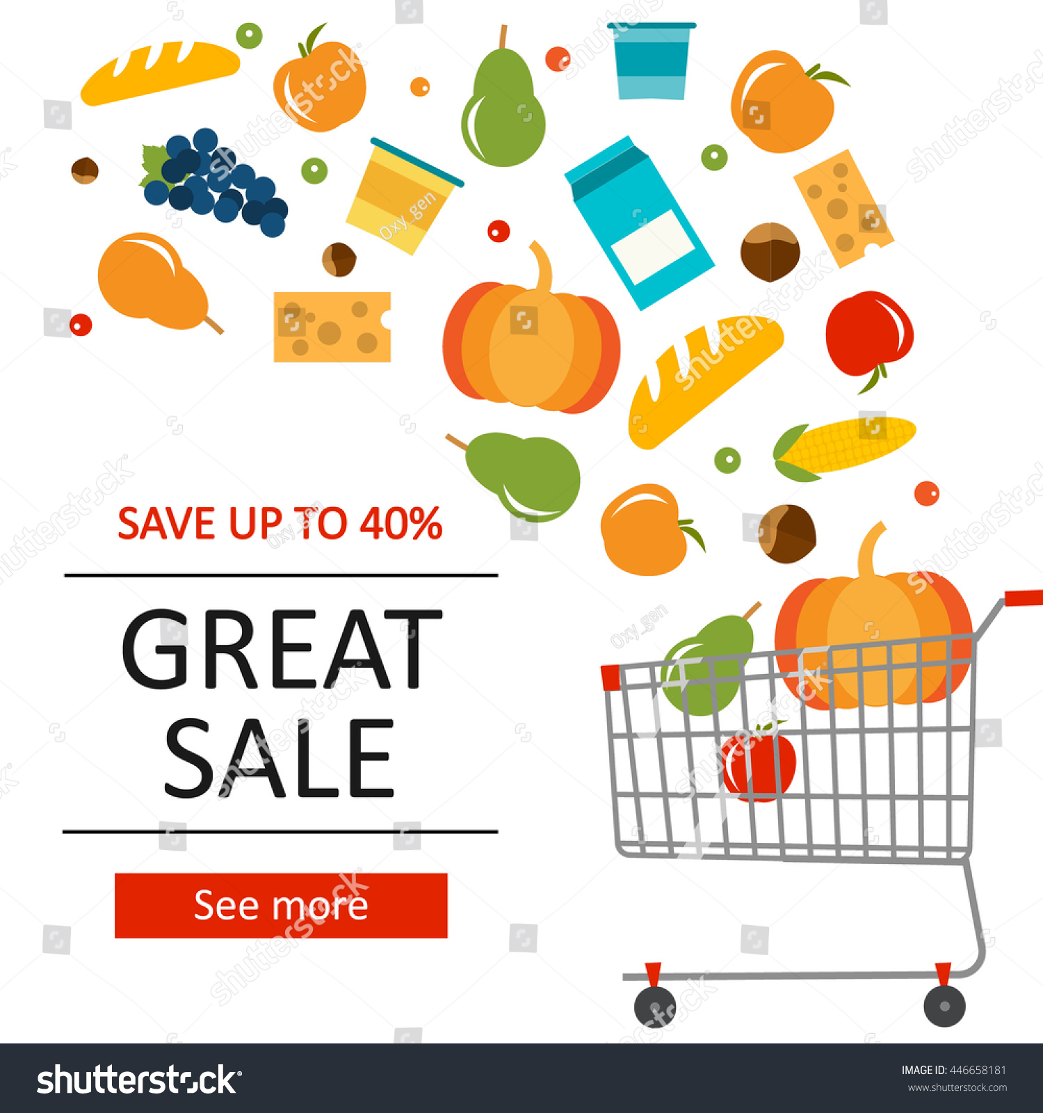 groceries food products sale flyer poster stock vector 446658181