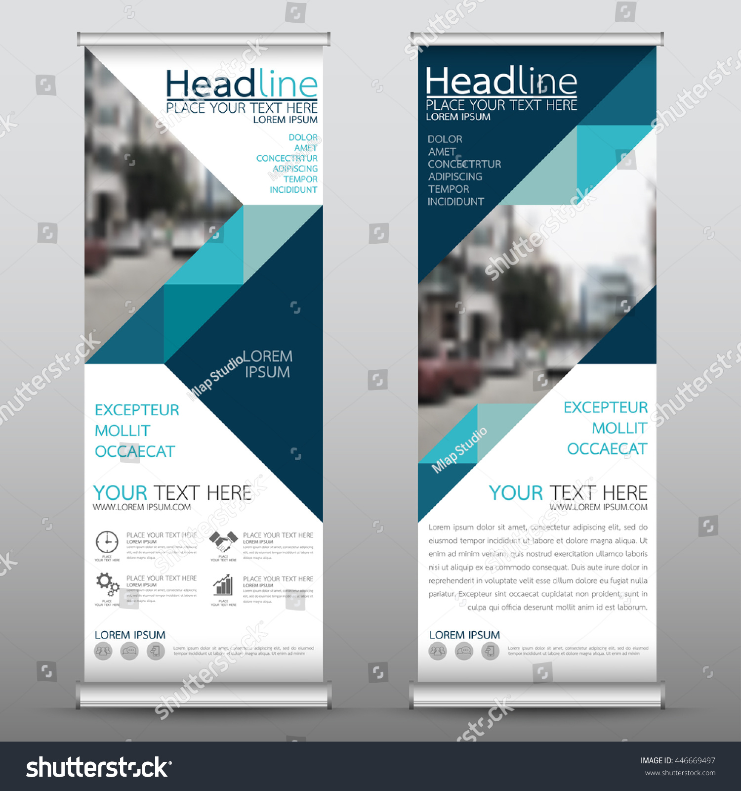 Blue Roll Up Business Brochure Flyer Banner Design