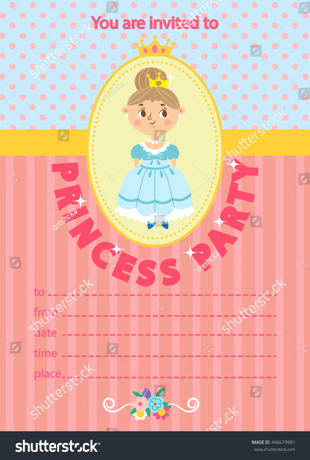 Princess Birthday Party Invitation Template Card Kids Fun In Pool
