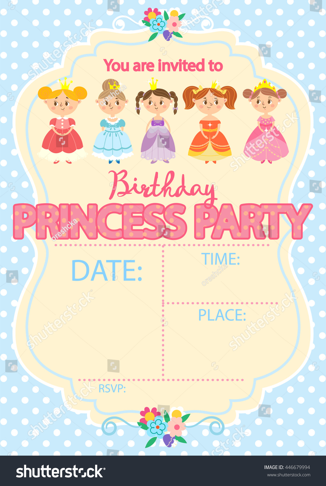 Princess Birthday Party Invitation Template Card Stock Vector ...