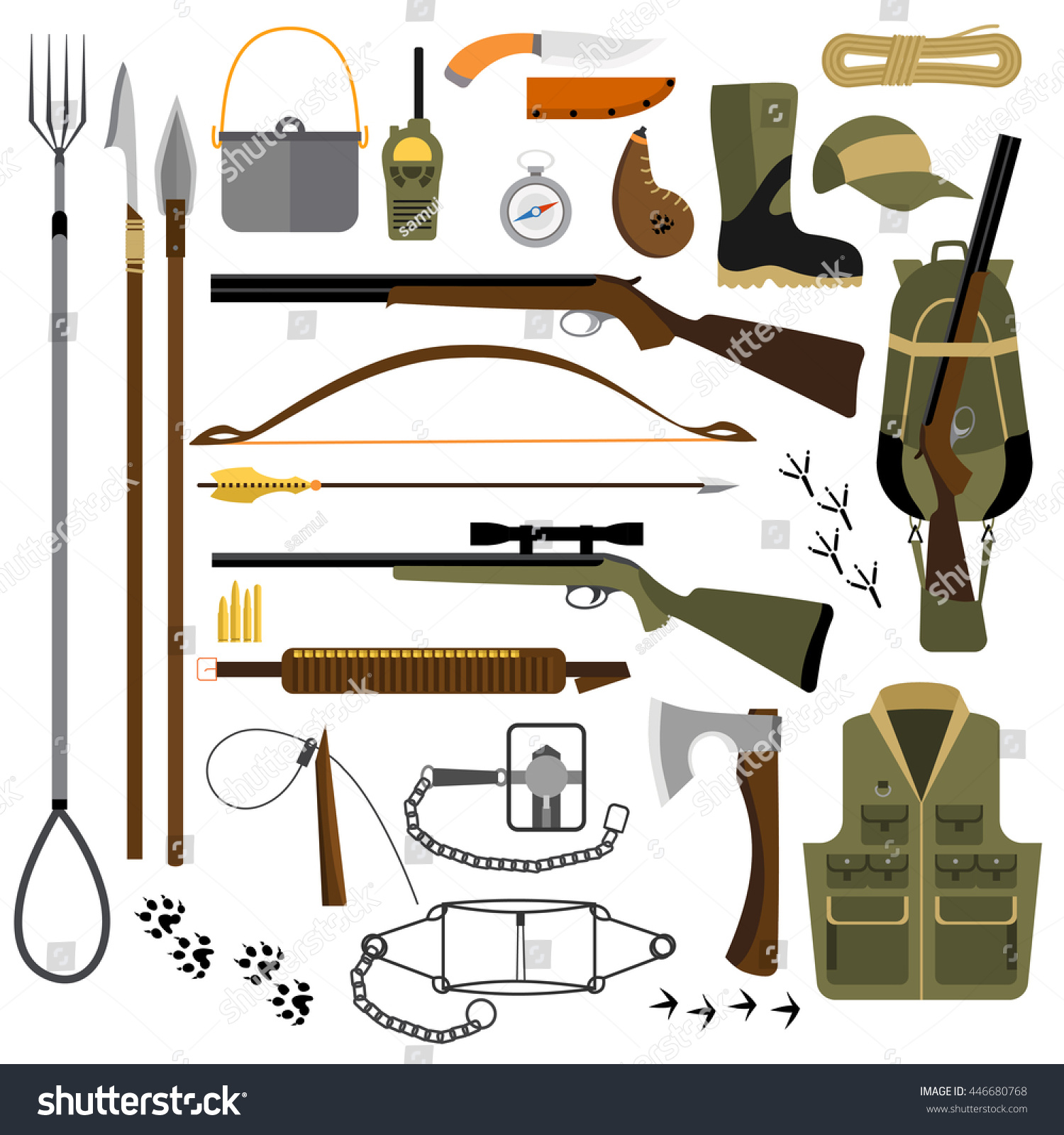 Vector Flat Illustration Hunting Fishing Gear Stock Vector ...