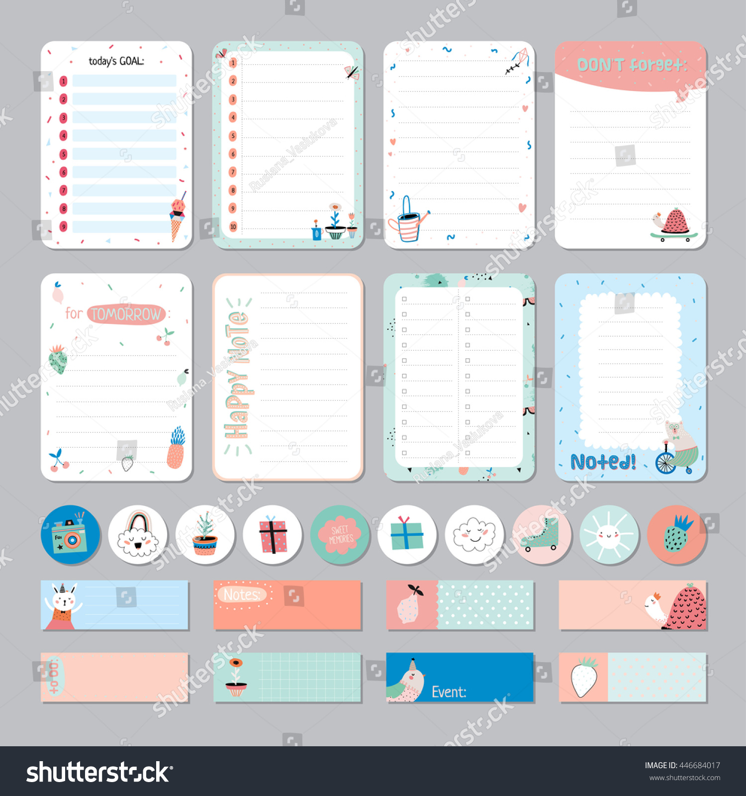 Cute Calendar Daily Weekly Planner Template Vector 446684017 – Template for Weekly Planner