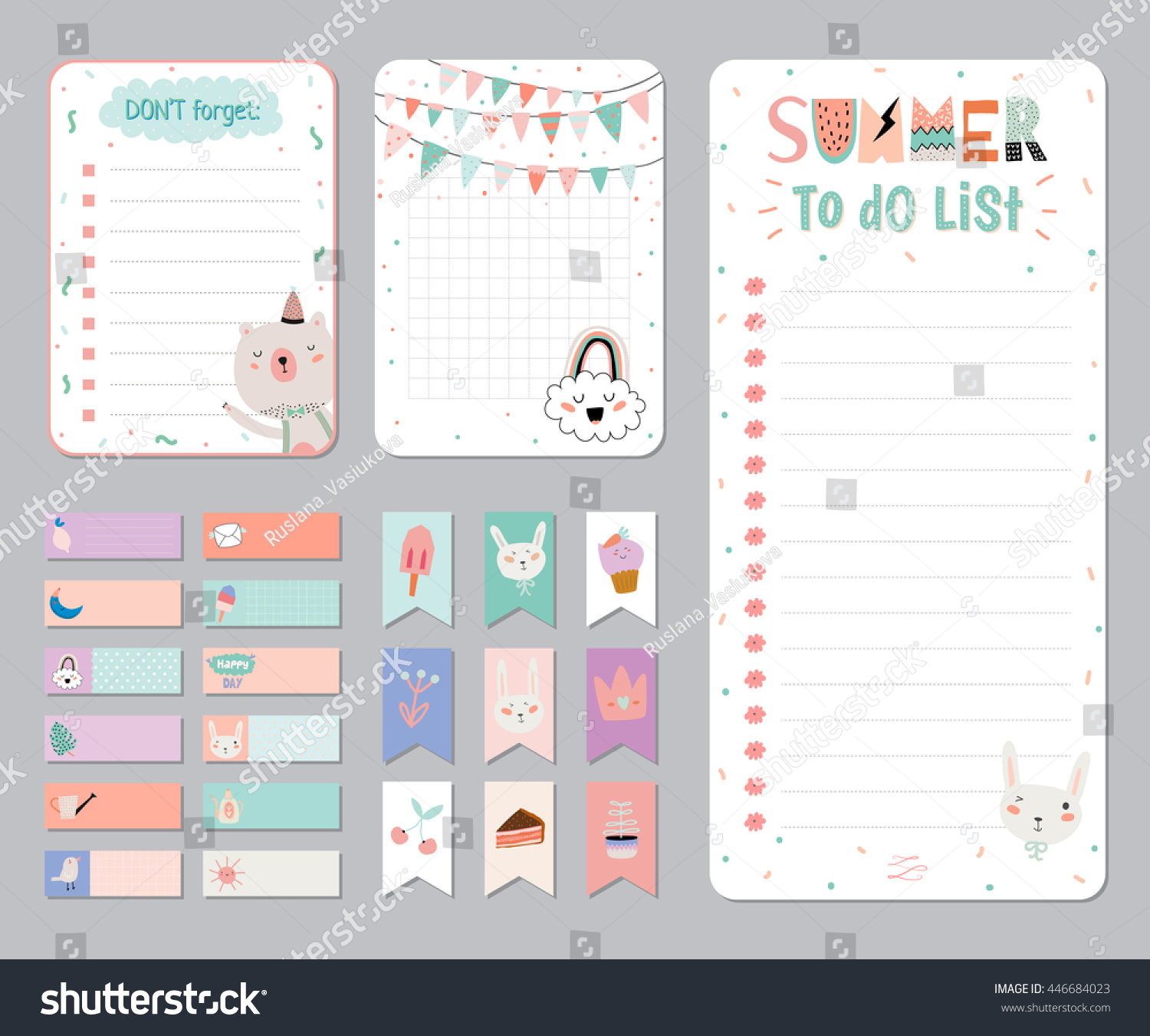 Cute Calendar Daily and Weekly Planner Template. Note Paper and ...