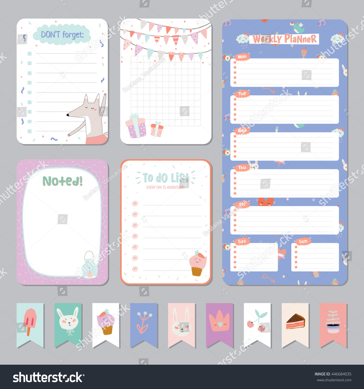 Cute calendar daily weekly planner template stock vector royalty cute calendar daily and weekly planner template note paper and stickers set with vector funny maxwellsz