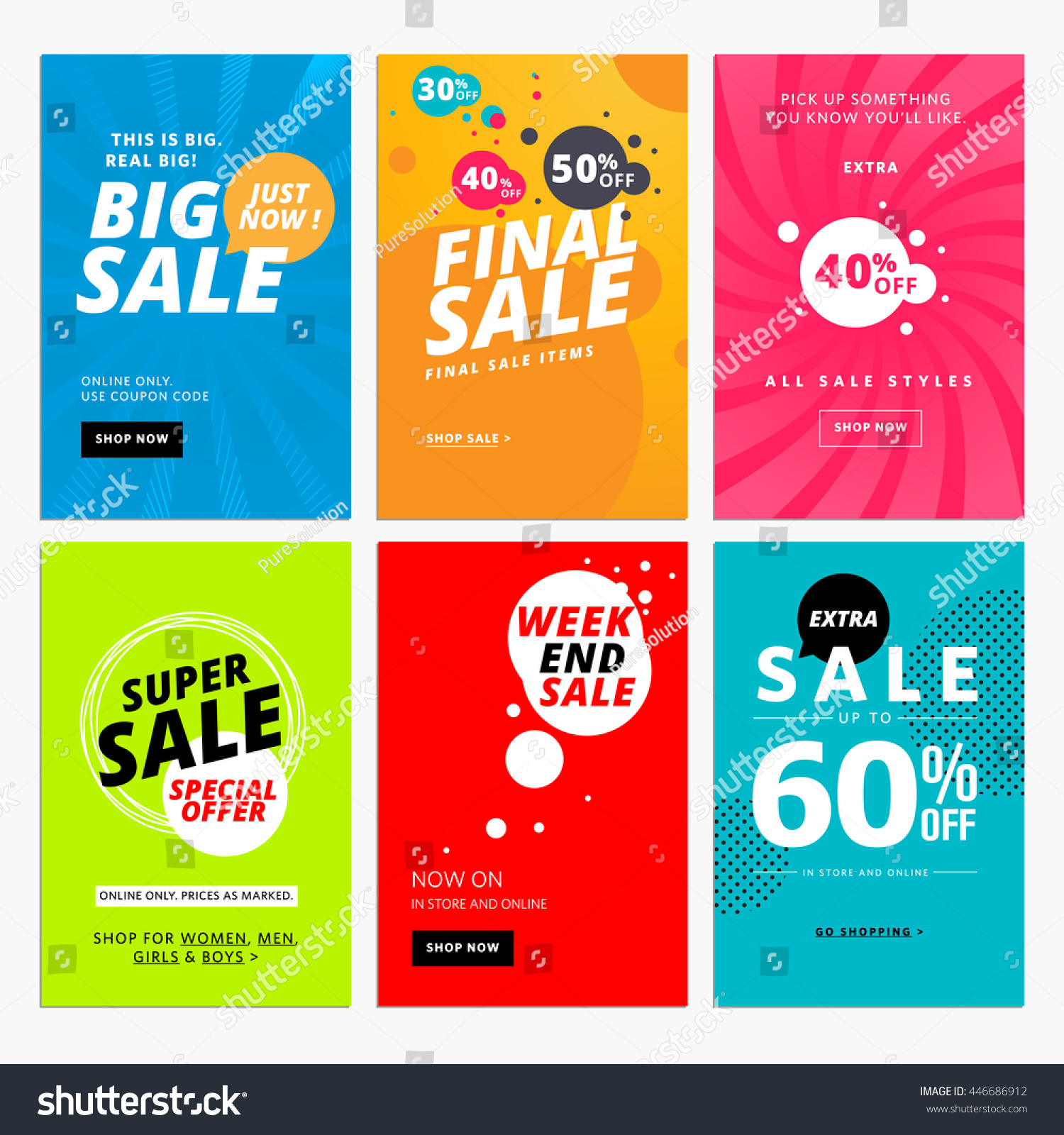 set sale website banner templates vector のベクター画像素材