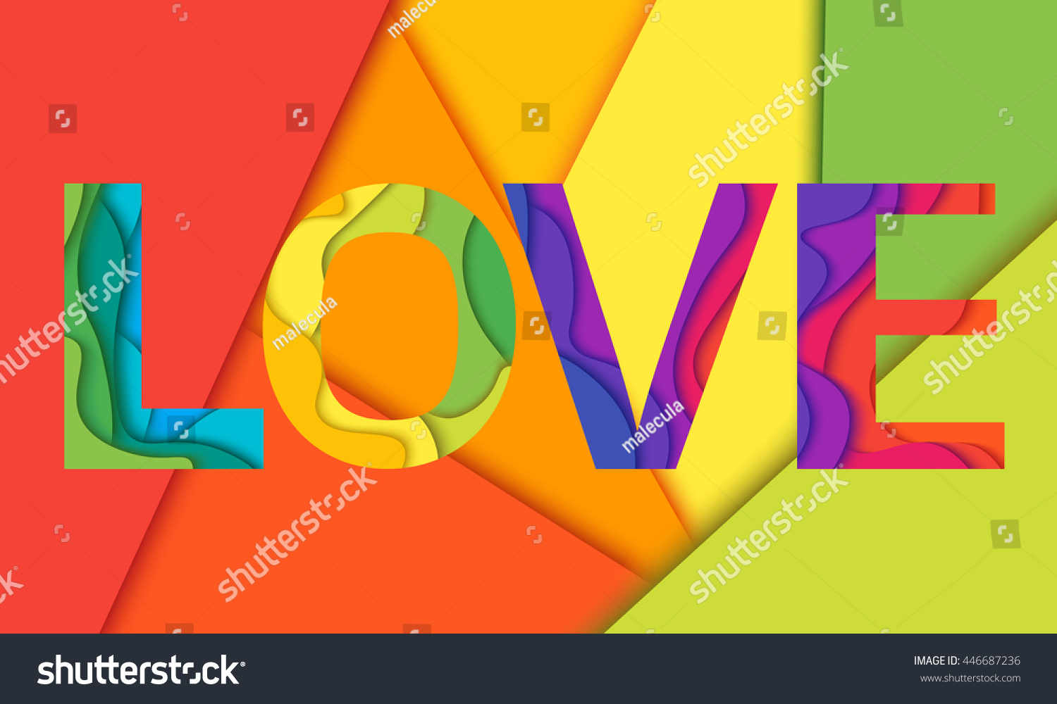 Love Word Mockup Print Colored Graphic Layered Design For T Shirt Or Poster