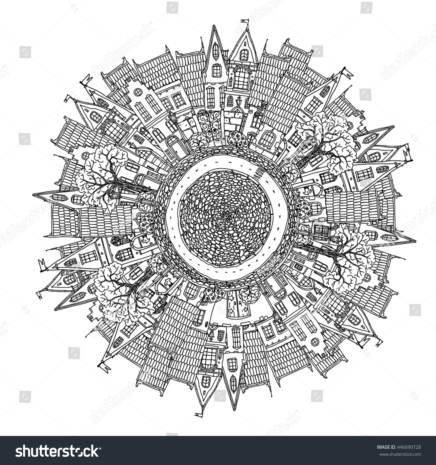 Decorative Ornamental Houses And City Life Details On Mandala Shape Contoured Medieval Buildings With Tile Roof