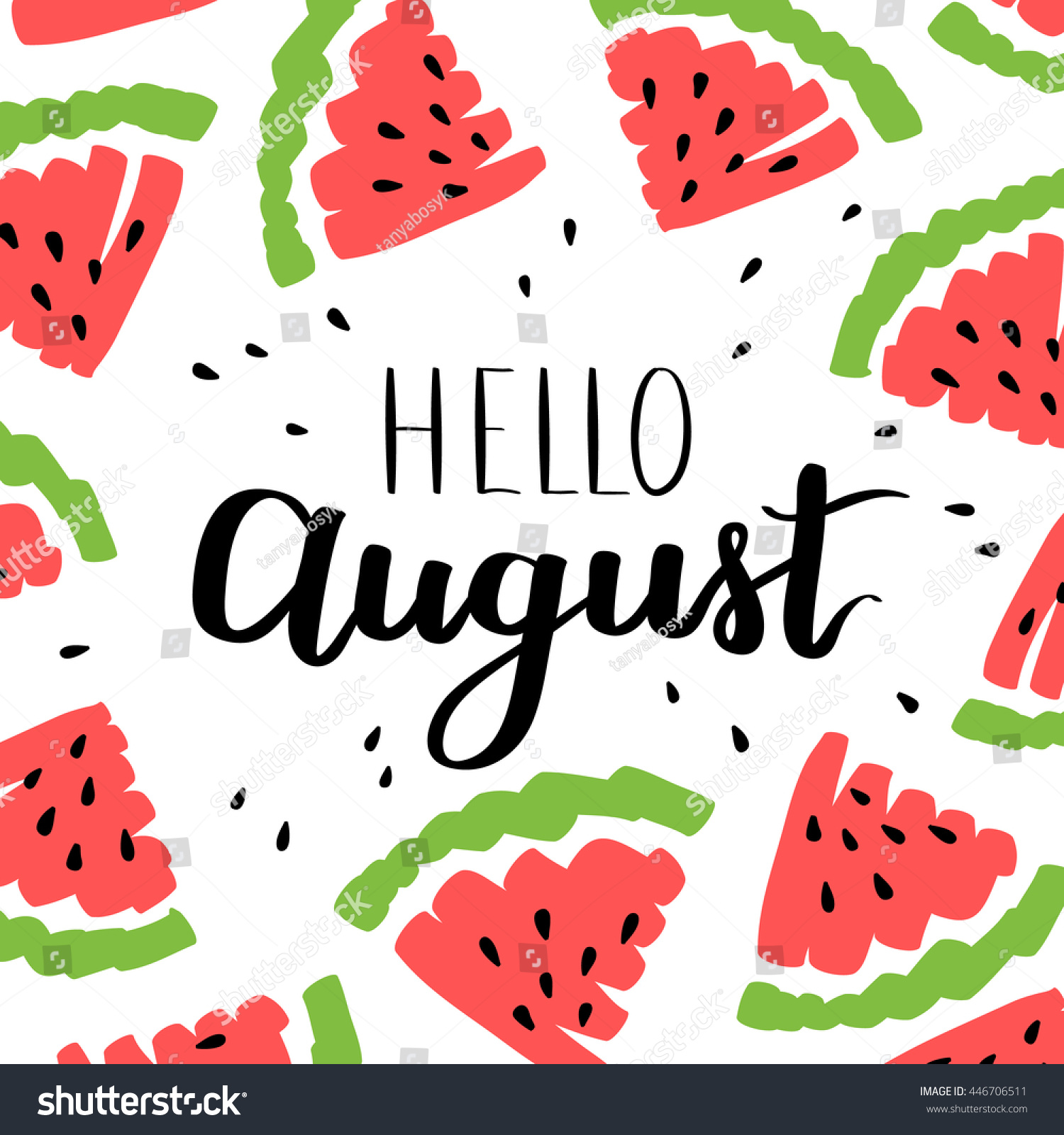 Great Vector Illustration Card Inscription Hello August Stock Vector 446706511    Sh..