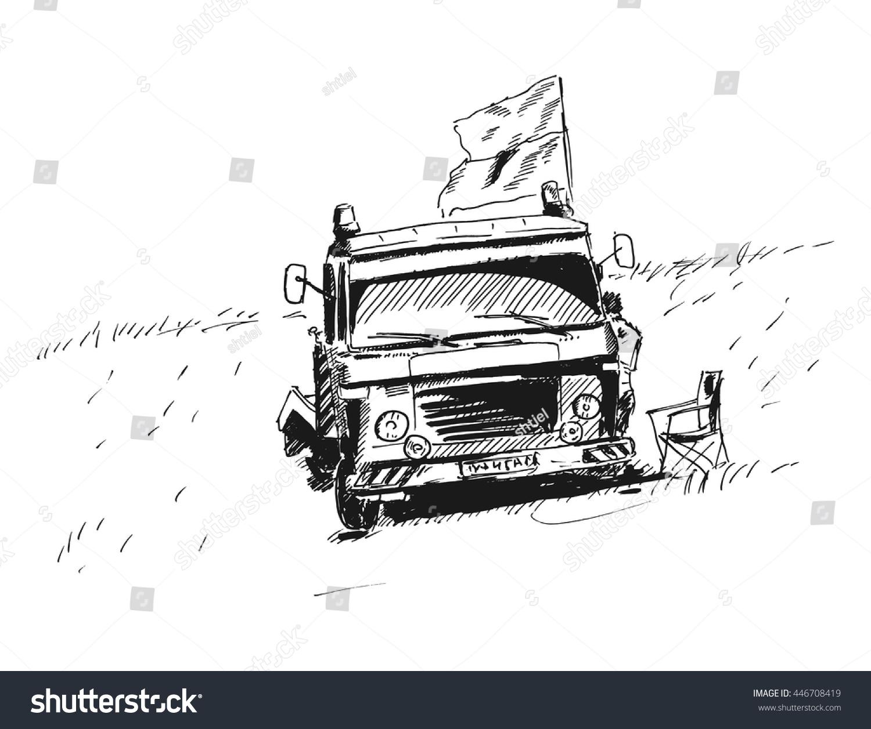 Tow Truck Vector Sketch Drawing Racing Stock Vector 446708419 ...