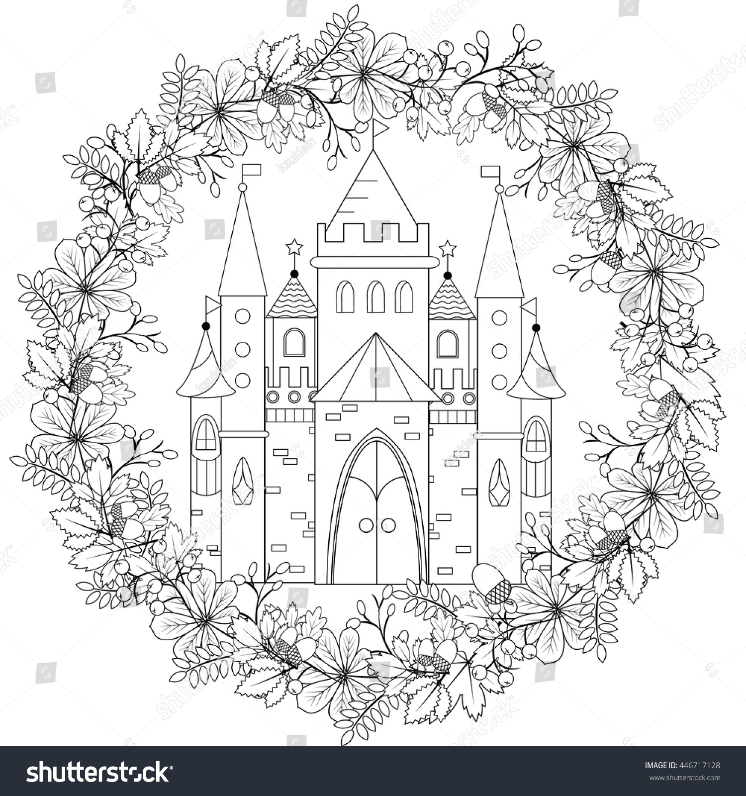 Relaxing Coloring Page Fairy Castle Forest Stock Vector