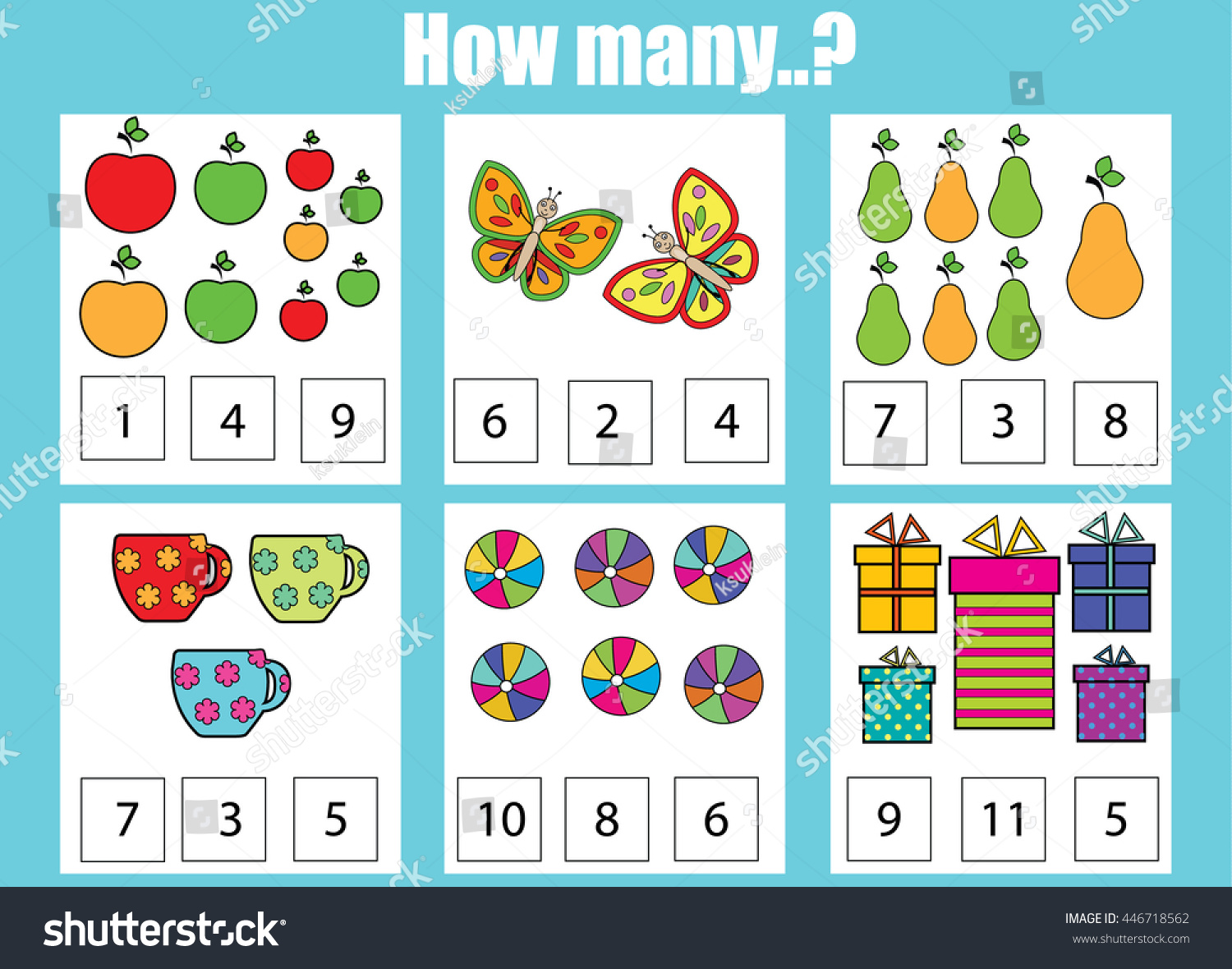 Counting Educational Children Game How Many Stock Vector (Royalty ...