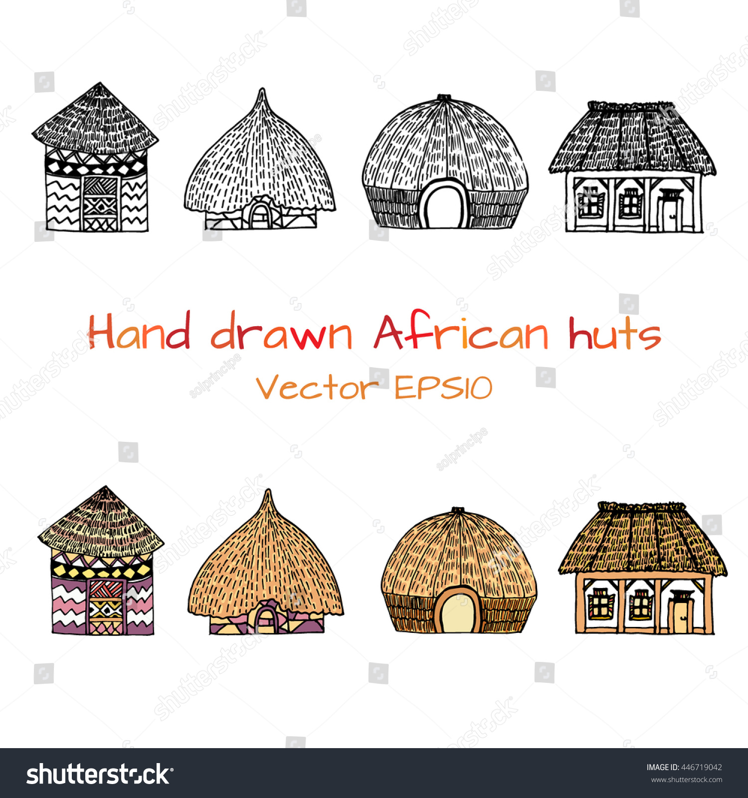 Hand Drawn Set Sketch Typical African Stock Vector