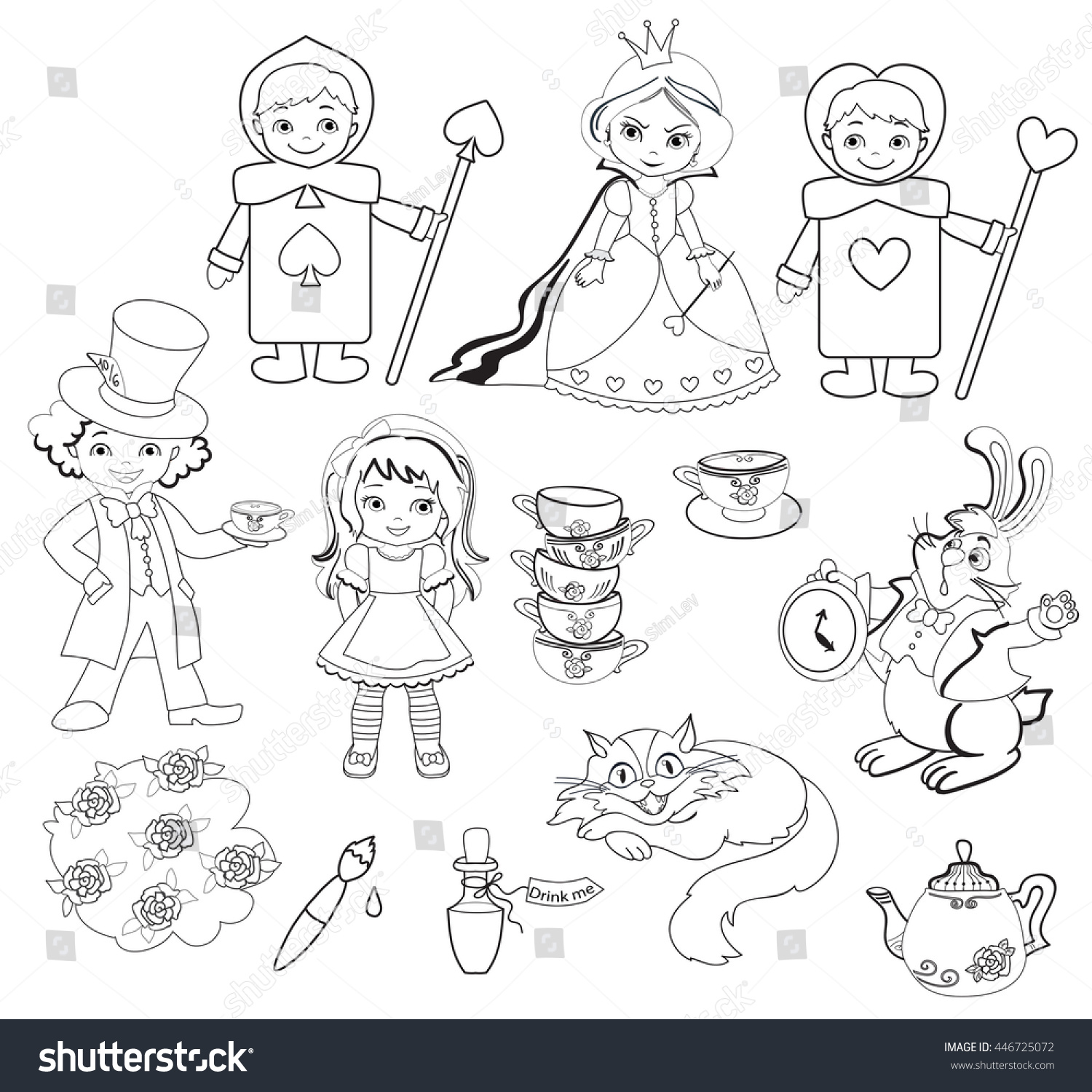 Alice Wonderland Set Characters Coloring Page Stock Illustration ...