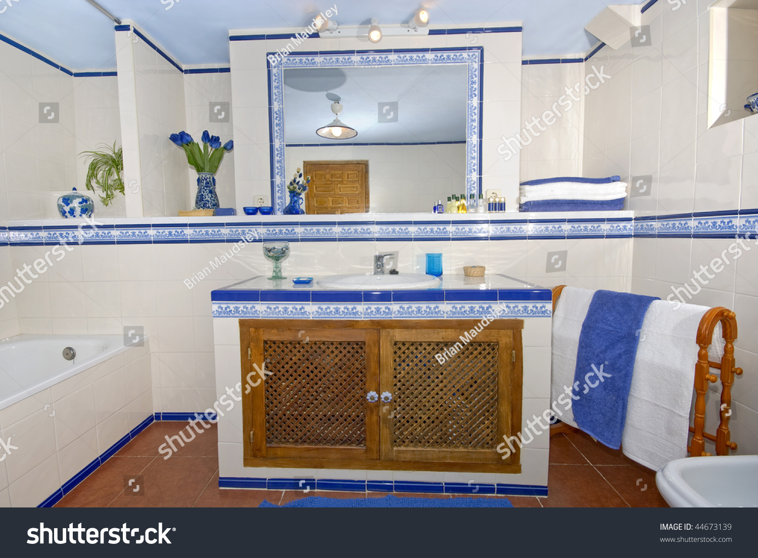 Rustic Spanish Country Style Bathroom White Stock Photo
