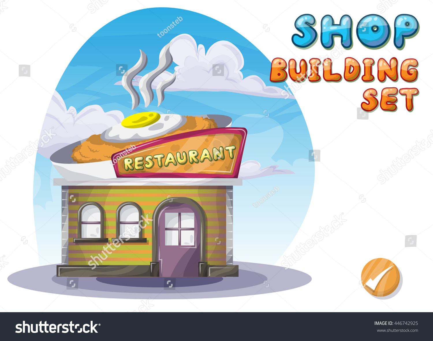 Cartoon vector restaurant game animation stock