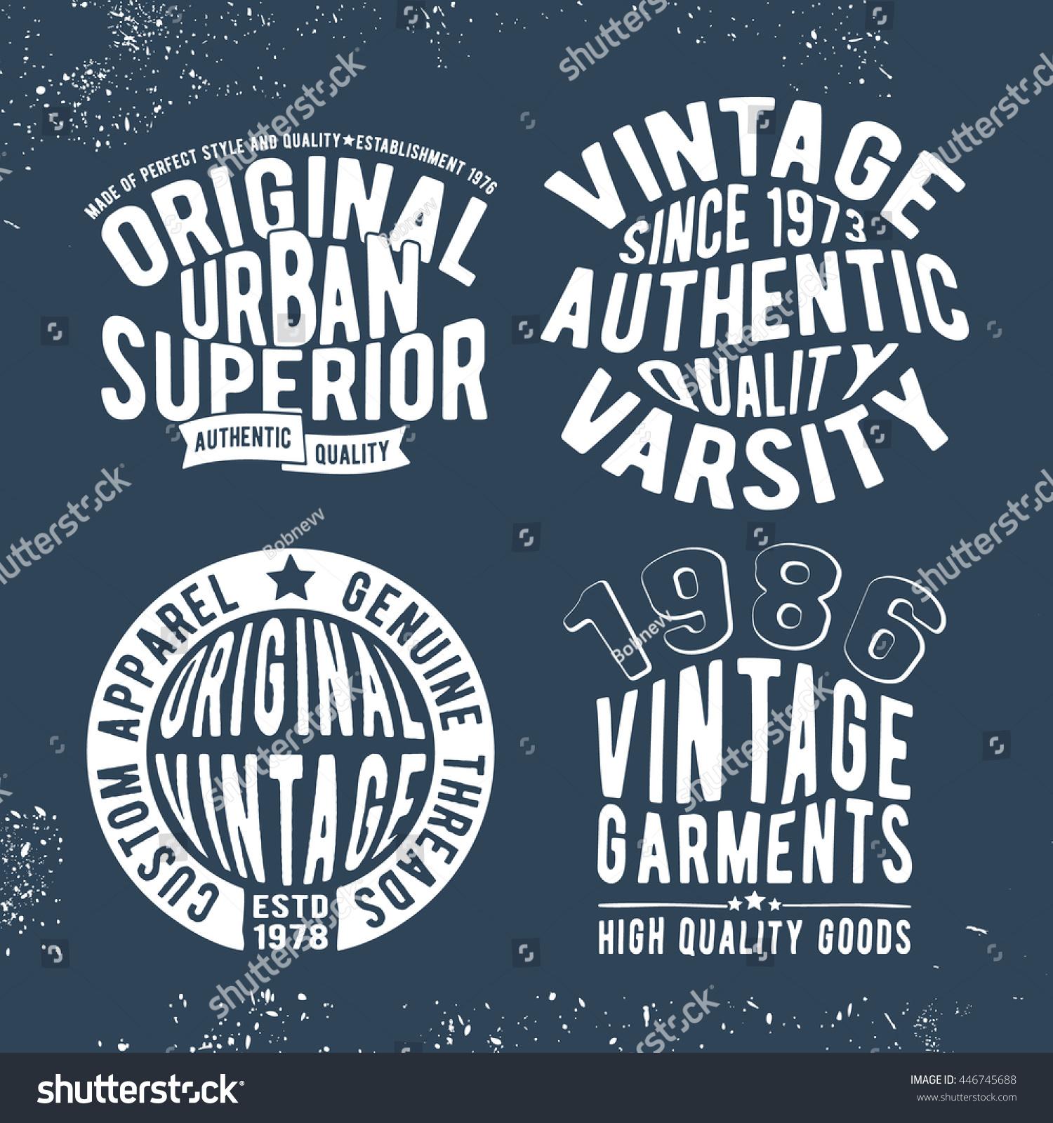 Tshirt print design set vintage stamp stock vector for Vintage t shirt printing