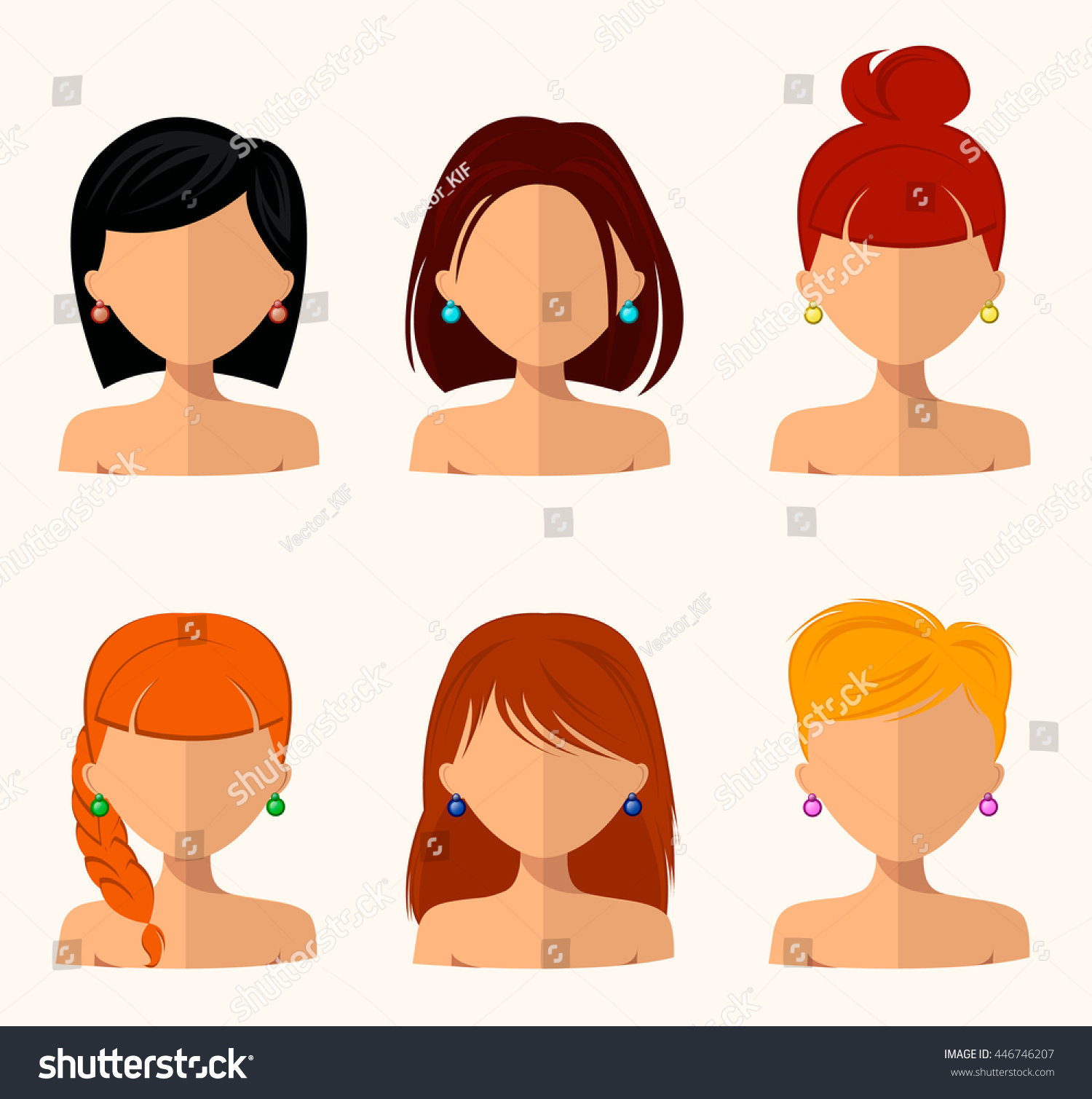 Young Pretty Women Pretty Faces Different Stock Vector Royalty Free