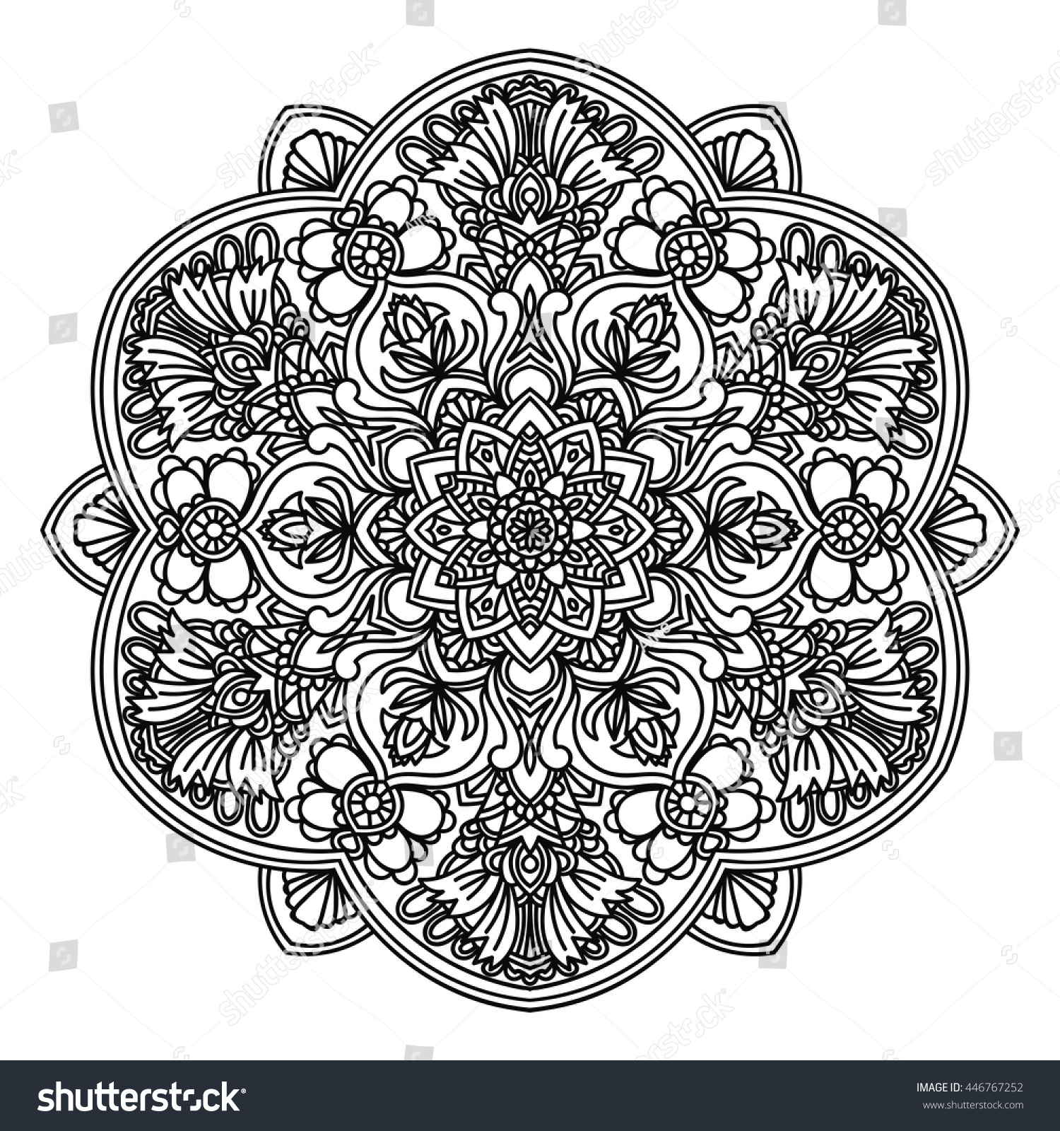 Ornamental Mandala Persian Turkish Circular Pattern Stock