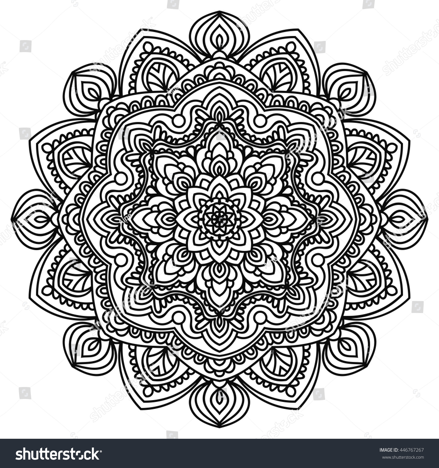 Ornamental Mandala Persian Turkish Arabic Circular Stock