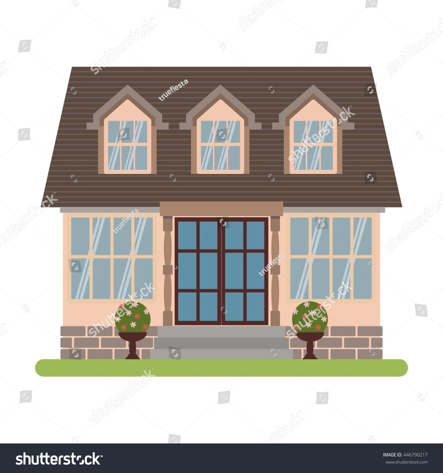 Modern Country House Cape Cod Style Stock Vector 446790217