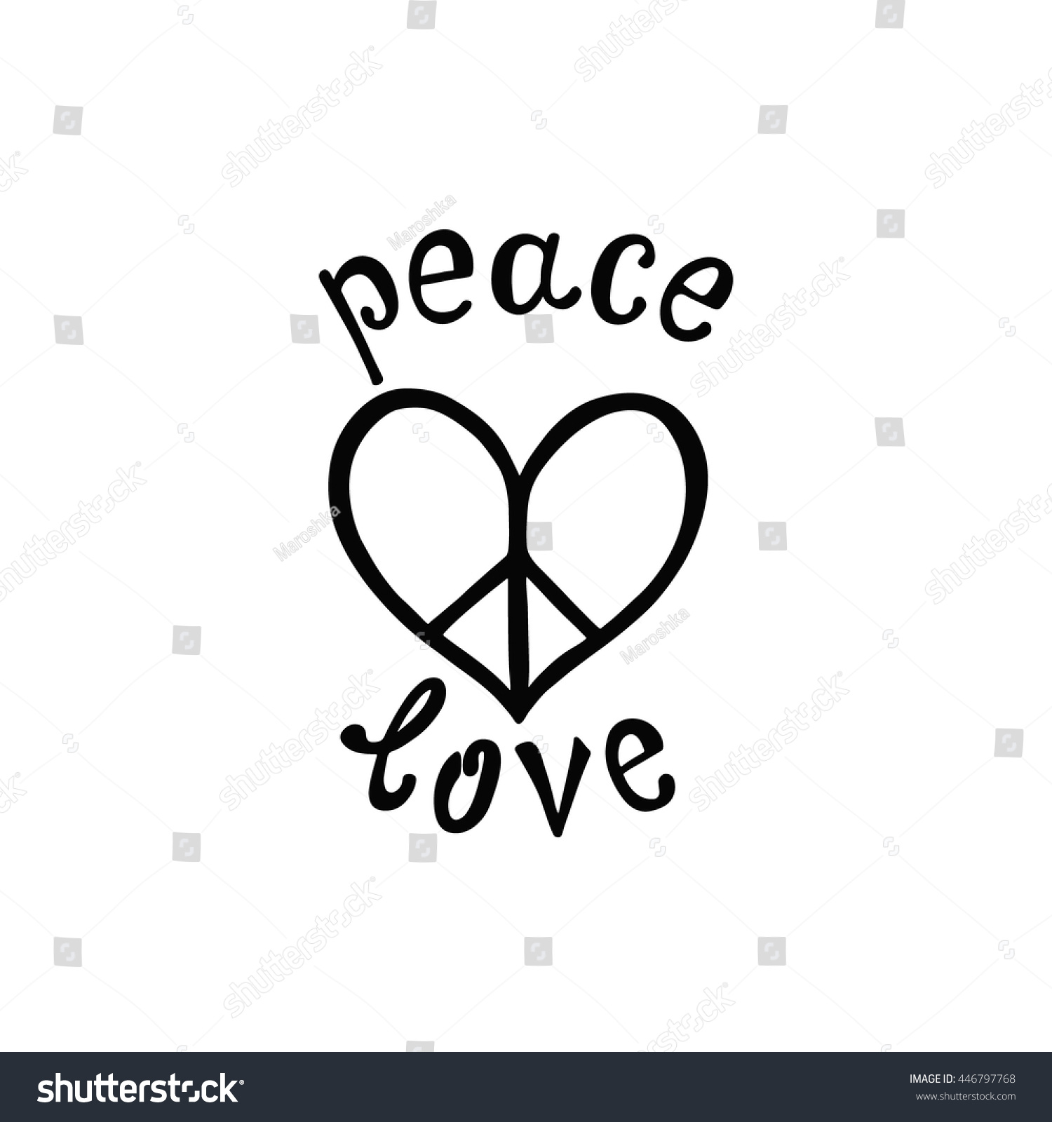 Quote About Peace And Love Peace Love Inspirational Quote Modern Calligraphy Stock Vector