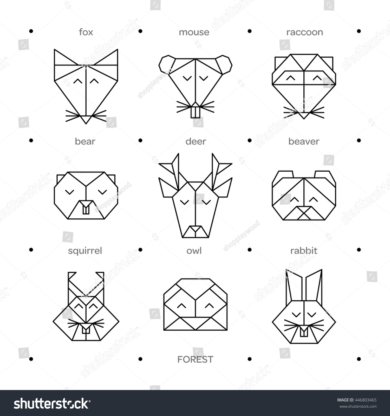 Animal Origami Heads Vector Low Poly Line Design Icon Set Animals For Tattoo Forest Collection Stock Photo