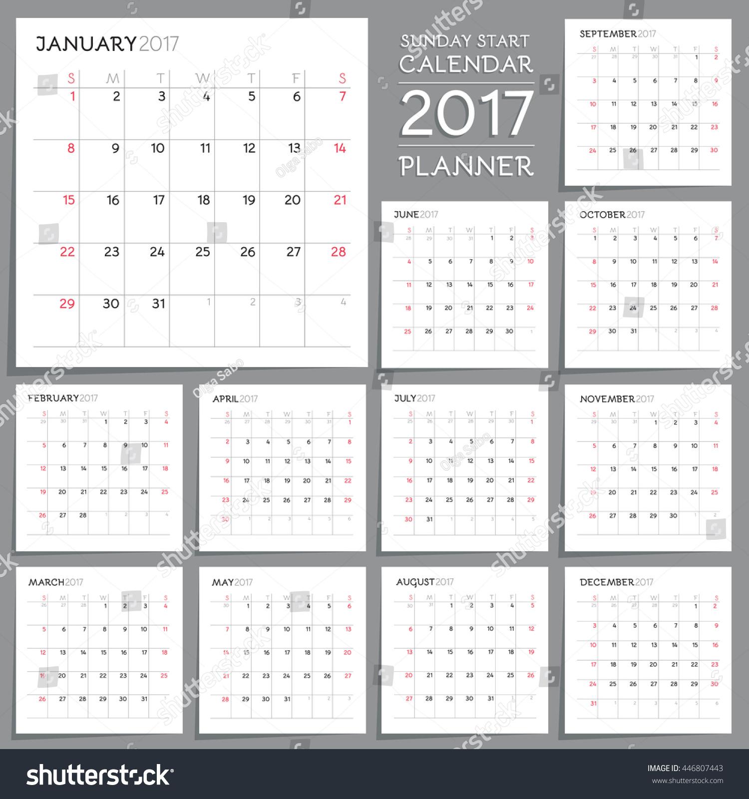 Planner Style Calendar Template : Calendar planner design week starts stock vector