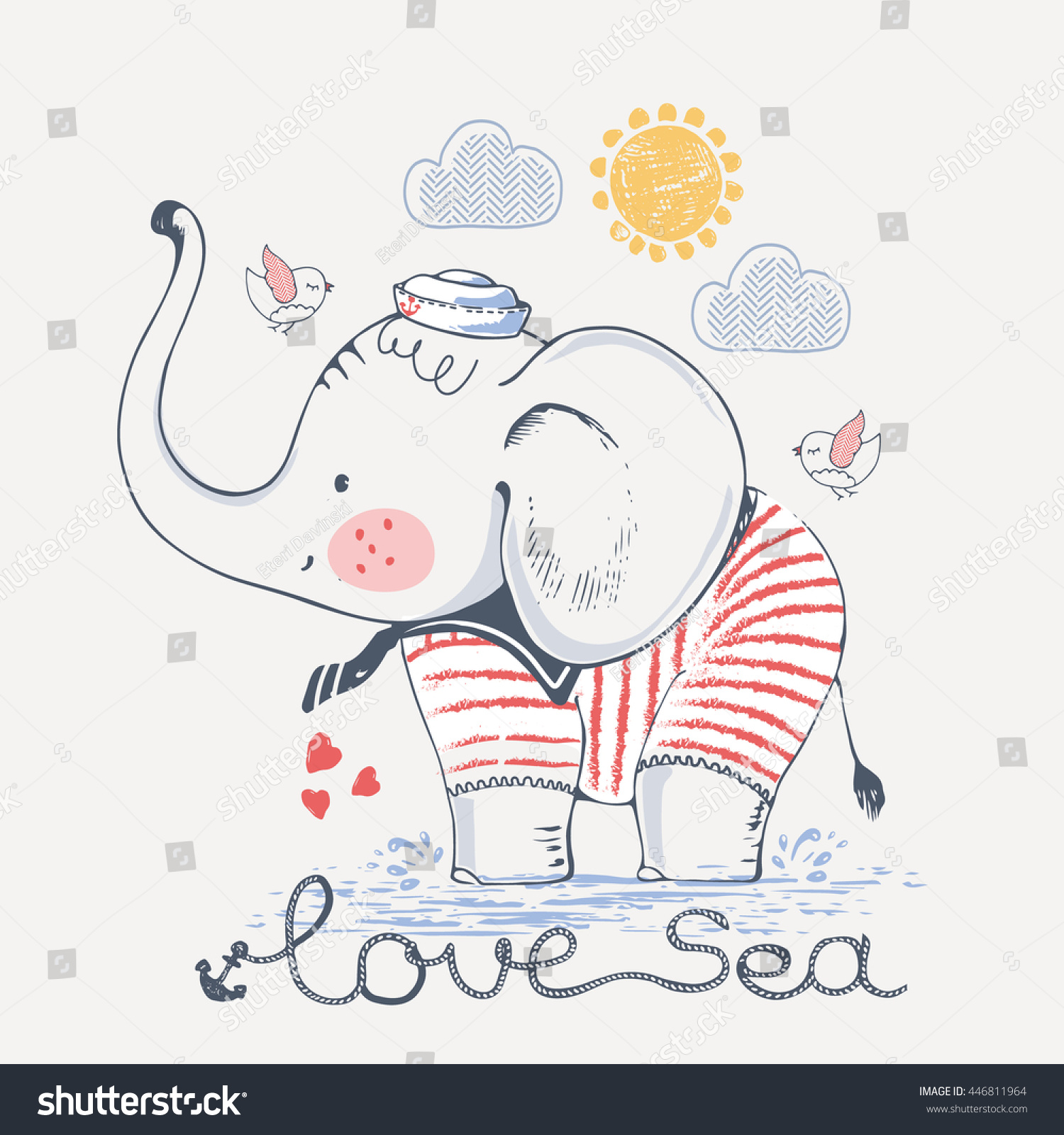 Sailor stock photos illustrations and vector art - Sailor Elephant Hand Drawn Vector Illustration Can Be Used For Kid S Or Baby S Shirt